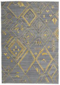 キリム Ariana 絨毯 200X284 モダン 手織り 水色/濃いグレー/薄い灰色 (ウール, アフガニスタン)