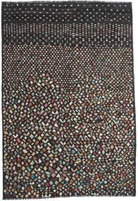 キリム モダン 絨毯 202X292 モダン 手織り 黒/濃いグレー (ウール, アフガニスタン)