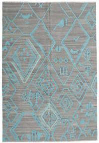 キリム モダン 絨毯 203X292 モダン 手織り 濃いグレー/薄い灰色/ターコイズブルー (ウール, アフガニスタン)