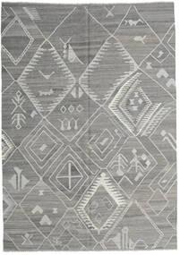 キリム モダン 絨毯 207X291 モダン 手織り 薄い灰色 (ウール, アフガニスタン)