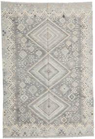 キリム モダン 絨毯 201X295 モダン 手織り 薄い灰色/暗めのベージュ色の (ウール, アフガニスタン)