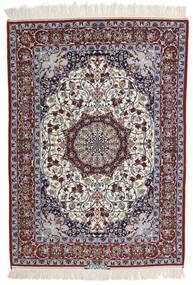 イスファハン 絹の縦糸 署名 Intashari 絨毯 113X158 オリエンタル 手織り 薄い灰色/濃い茶色 (ウール/絹, ペルシャ/イラン)