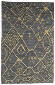 キリム モダン 絨毯 198X302 モダン 手織り 濃いグレー/ライトグリーン (ウール, アフガニスタン)