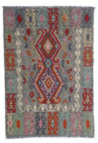 キリム アフガン オールド スタイル 絨毯 100X143 オリエンタル 手織り 濃いグレー/深紅色の (ウール, アフガニスタン)