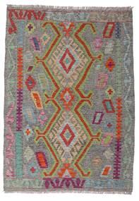 キリム アフガン オールド スタイル 絨毯 100X141 オリエンタル 手織り 濃いグレー/薄い灰色 (ウール, アフガニスタン)