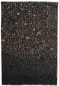 キリム モダン 絨毯 195X286 モダン 手織り 黒/濃いグレー (ウール, アフガニスタン)