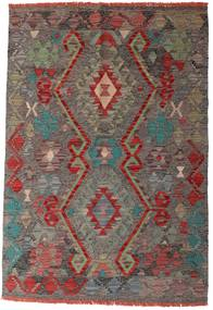 キリム アフガン オールド スタイル 絨毯 96X139 オリエンタル 手織り 濃いグレー/深紅色の (ウール, アフガニスタン)
