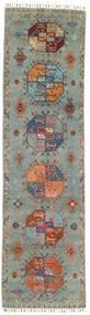 Shabargan 絨毯 75X272 モダン 手織り 廊下 カーペット 濃いグレー/薄い灰色 (ウール, アフガニスタン)
