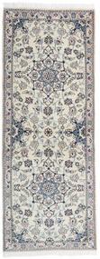 ナイン 9La 絨毯 79X201 オリエンタル 手織り 廊下 カーペット 薄い灰色/濃いグレー (ウール/絹, ペルシャ/イラン)