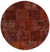 パッチワーク - Persien/Iran 絨毯 Ø 200 モダン 手織り ラウンド 濃い茶色/深紅色の (ウール, ペルシャ/イラン)