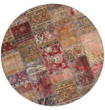 パッチワーク - Persien/Iran 絨毯 Ø 200 モダン 手織り ラウンド 茶/深紅色の (ウール, ペルシャ/イラン)