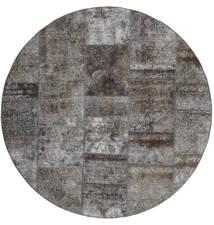 パッチワーク - Persien/Iran 絨毯 Ø 200 モダン 手織り ラウンド 濃いグレー/薄い灰色 (ウール, ペルシャ/イラン)