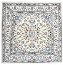 ナイン 絨毯 196X197 オリエンタル 手織り 正方形 薄い灰色/ホワイト/クリーム色 (ウール, ペルシャ/イラン)