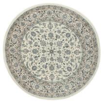 ナイン 9La 絨毯 Ø 200 オリエンタル 手織り ラウンド 薄い灰色/濃いグレー (ウール/絹, ペルシャ/イラン)