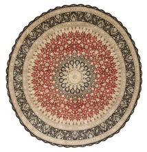 クム シルク 絨毯 Ø 203 オリエンタル 手織り ラウンド 薄茶色/暗めのベージュ色の (絹, ペルシャ/イラン)