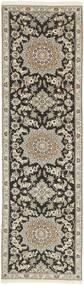 ナイン 9La 絨毯 81X291 オリエンタル 手織り 廊下 カーペット 薄い灰色/濃いグレー (ウール/絹, ペルシャ/イラン)