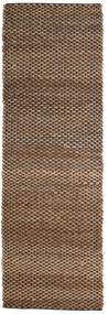 屋外カーペット Siri Jute - ナチュラル/黒 絨毯 80X250 モダン 手織り 廊下 カーペット 茶/濃い茶色 ( インド)