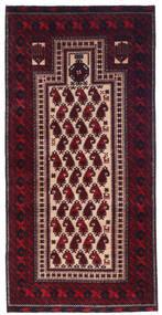 バルーチ 絨毯 98X209 オリエンタル 手織り 深紅色の (ウール, ペルシャ/イラン)