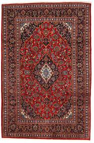 カシャン 絨毯 195X294 オリエンタル 手織り 深紅色の/黒 (ウール, ペルシャ/イラン)