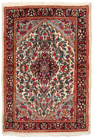 ケルマン 絨毯 97X141 オリエンタル 手織り 黒/深紅色の (ウール, ペルシャ/イラン)
