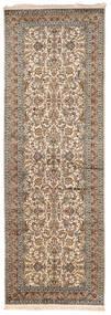 カシミール ピュア シルク 絨毯 95X279 オリエンタル 手織り 廊下 カーペット 薄い灰色/濃い茶色 (絹, インド)