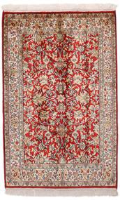 カシミール ピュア シルク 絨毯 65X99 オリエンタル 手織り 深紅色の/薄い灰色 (絹, インド)