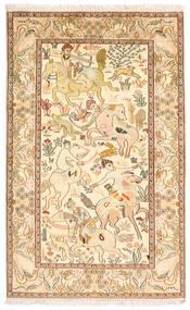 カシミール ピュア シルク 絨毯 94X152 オリエンタル 手織り 茶/黄色 (絹, インド)
