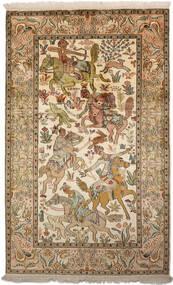 カシミール ピュア シルク 絨毯 94X152 オリエンタル 手織り 茶/暗めのベージュ色の (絹, インド)