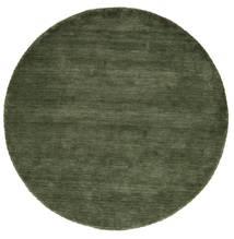 ハンドルーム - フォレストグリーン 絨毯 Ø 200 モダン ラウンド 深緑色の (ウール, インド)
