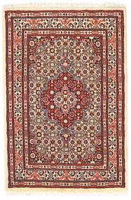 ムード 絨毯 58X89 オリエンタル 手織り 深紅色の/ベージュ (ウール/絹, ペルシャ/イラン)