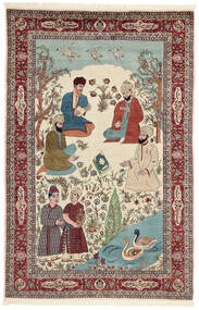 サルーク 絨毯 143X213 オリエンタル 手織り ベージュ/濃い茶色 (ウール/絹, ペルシャ/イラン)