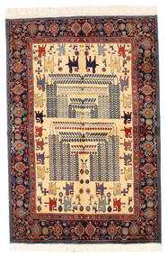 Ziegler モダン 絨毯 134X198 モダン 手織り 濃いグレー/深紅色の/ベージュ (ウール, パキスタン)