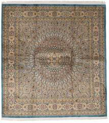 カシミール ピュア シルク 絨毯 179X193 オリエンタル 手織り 正方形 薄茶色/薄い灰色 (絹, インド)
