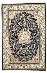 ナイン インド 絨毯 204X308 オリエンタル 手織り ベージュ/濃いグレー/薄い灰色 ( インド)