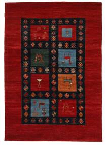 ギャッベ Loribaft 絨毯 152X218 モダン 手織り 深紅色の/黒 (ウール, インド)