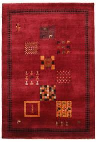 ギャッベ Loribaft 絨毯 155X225 モダン 手織り 深紅色の/黒 (ウール, インド)