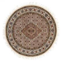 タブリーズ Royal 絨毯 Ø 101 オリエンタル 手織り ラウンド 茶/ベージュ ( インド)
