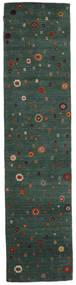 Loribaf ルーム 絨毯 82X341 モダン 手織り 廊下 カーペット 深緑色の/紺色の (ウール, インド)