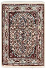 ムード 絨毯 62X90 オリエンタル 手織り 薄い灰色/濃い茶色 (ウール/絹, ペルシャ/イラン)
