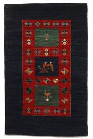 ギャッベ Loribaft 絨毯 95X150 モダン 手織り 黒/深紅色の (ウール, インド)