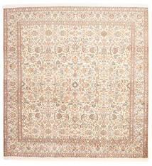 カシミール ピュア シルク 絨毯 212X218 オリエンタル 手織り 正方形 ベージュ/ライトピンク (絹, インド)