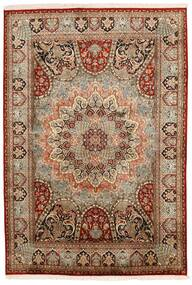 カシミール ピュア シルク 絨毯 150X224 オリエンタル 手織り 濃い茶色/薄茶色 (絹, インド)