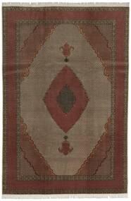 タブリーズ 60 Raj 絹の縦糸 絨毯 200X300 オリエンタル 手織り 深紅色の/濃い茶色 (ウール/絹, ペルシャ/イラン)
