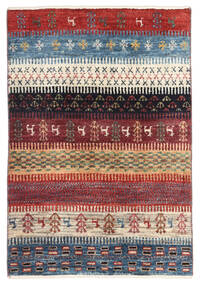 ギャッベ ペルシャ 絨毯 60X89 モダン 手織り 深紅色の/青 (ウール, ペルシャ/イラン)