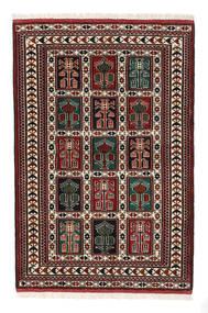 トルクメン 絨毯 98X146 オリエンタル 手織り 濃い茶色/深紅色の (ウール, ペルシャ/イラン)