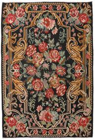 薔薇 キリム Moldavia 絨毯 201X298 オリエンタル 手織り 黒/深紅色の (ウール, モルドバ)
