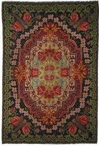 薔薇 キリム Moldavia 絨毯 219X322 オリエンタル 手織り 黒/濃い茶色 (ウール, モルドバ)