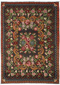 薔薇 キリム Moldavia 絨毯 191X282 オリエンタル 手織り 黒/深緑色の (ウール, モルドバ)