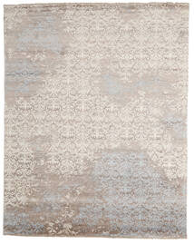 Damask インド 絨毯 241X305 モダン 手織り 薄い灰色/ベージュ (ウール/バンブーシルク, インド)
