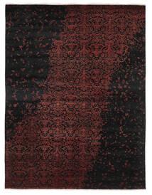 Damask インド 絨毯 237X305 モダン 手織り 黒/深紅色の (ウール/バンブーシルク, インド)